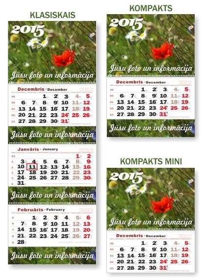Vispopularakie sienas kalendāru modeļi - sienas kalendārs